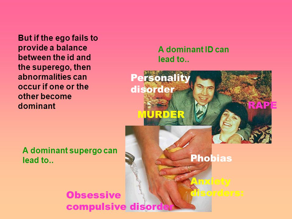 But if the ego fails to provide a balance between the id and the superego, then abnormalities can occur if one or the other become dominant A dominant ID can lead to..