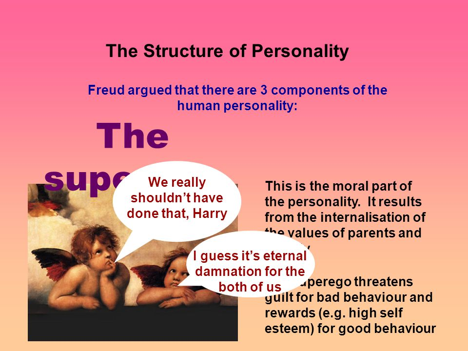 The Structure of Personality Freud argued that there are 3 components of the human personality: The superego This is the moral part of the personality.