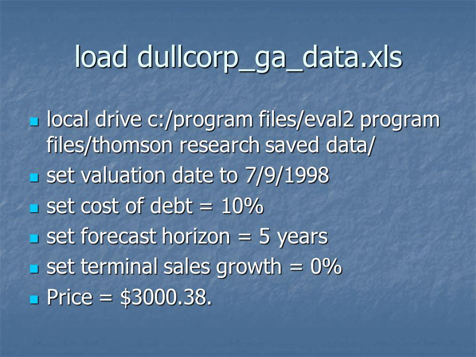 Dullcorp Valuation Computations  load dullcorp_ga_data xls local