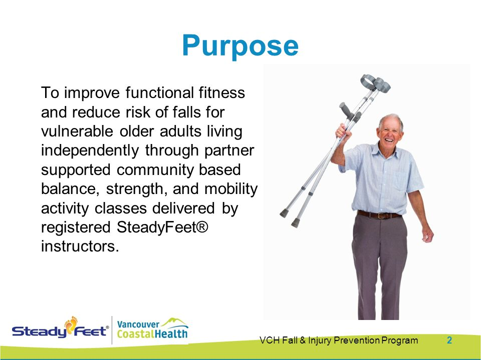 To improve functional fitness and reduce risk of falls for vulnerable older adults living independently through partner supported community based balance, strength, and mobility activity classes delivered by registered SteadyFeet® instructors.