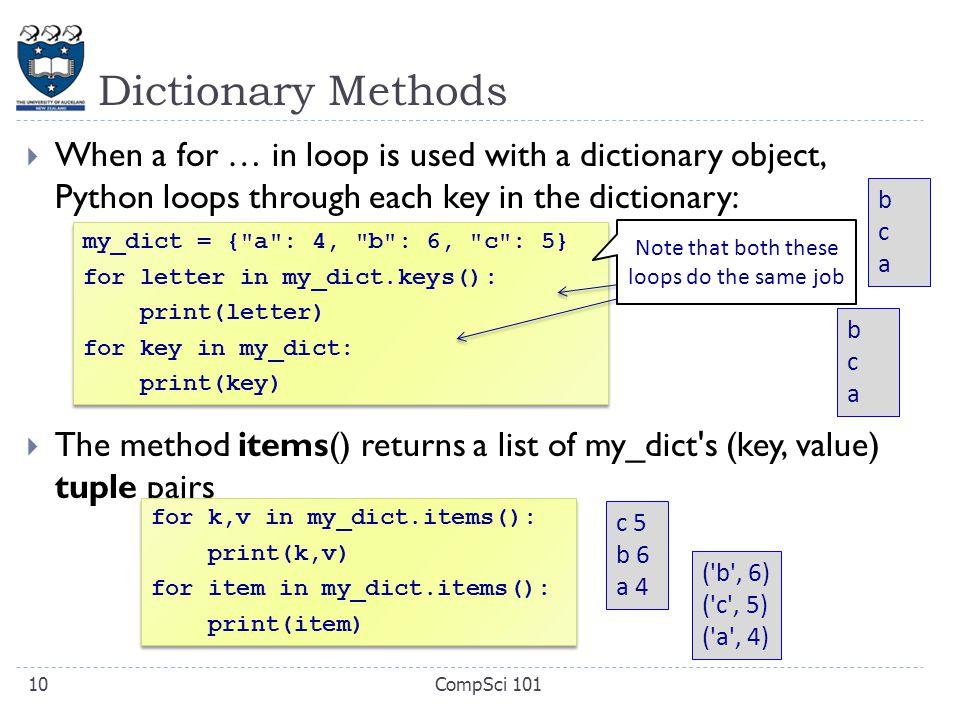 looping through dictionary python