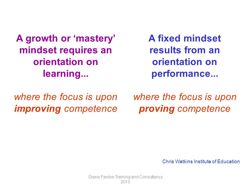 A growth or 'mastery' mindset requires an orientation on learning...