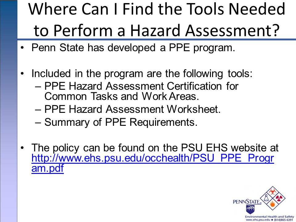 Where Can I Find the Tools Needed to Perform a Hazard Assessment.