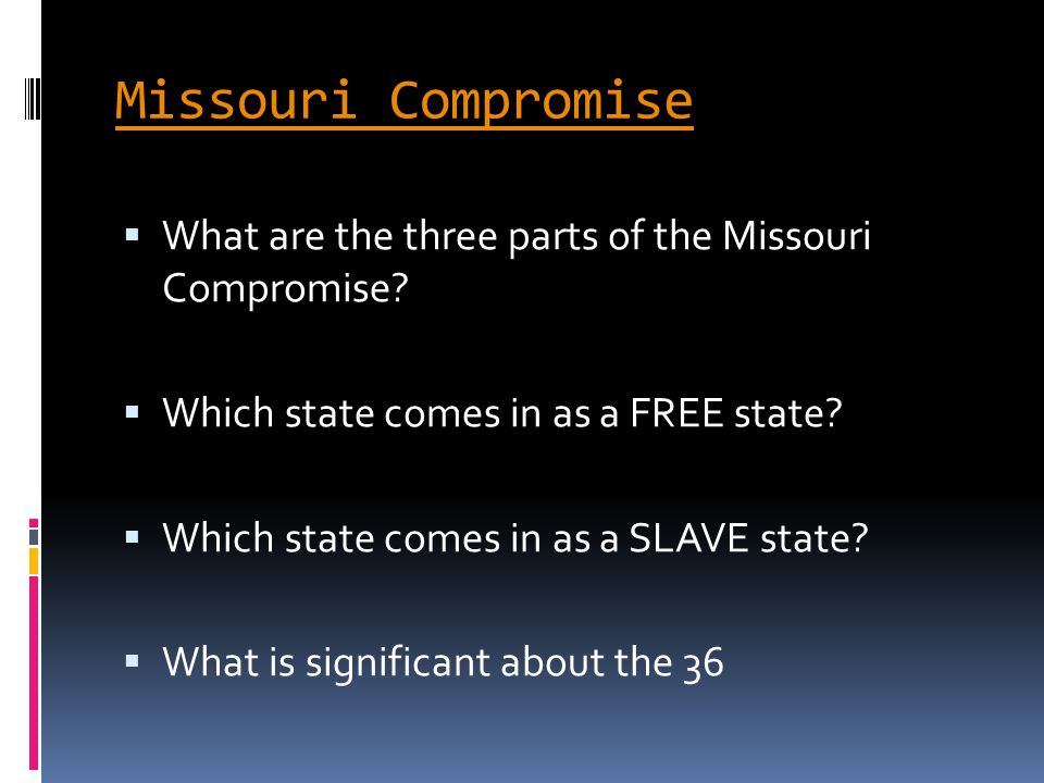 what issue was addressed by the missouri compromise