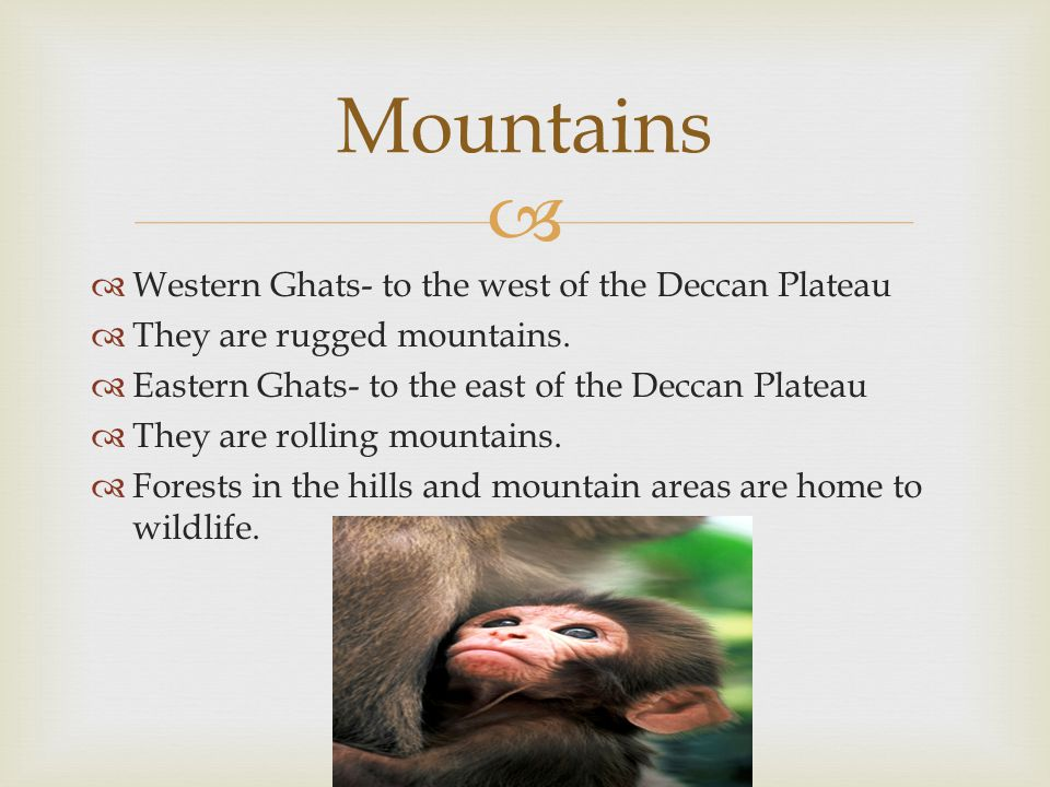   Western Ghats- to the west of the Deccan Plateau  They are rugged mountains.