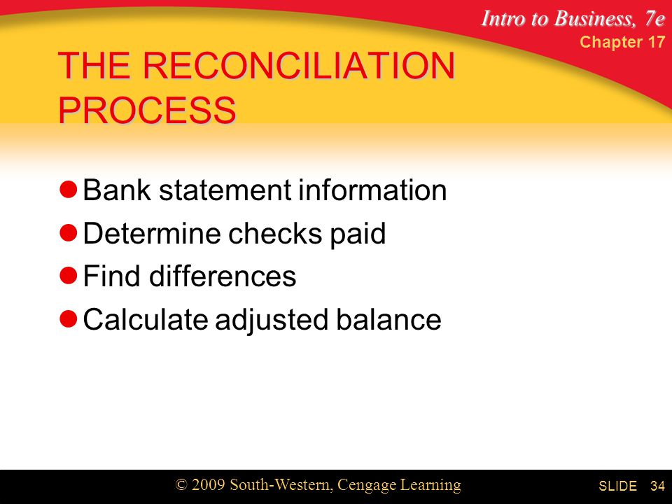 Intro to Business, 7e © 2009 South-Western, Cengage Learning SLIDE Chapter THE RECONCILIATION PROCESS Bank statement information Determine checks paid Find differences Calculate adjusted balance