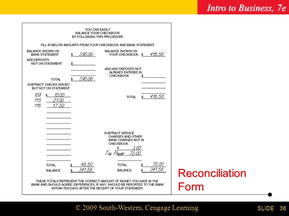 Intro to Business, 7e © 2009 South-Western, Cengage Learning SLIDE Chapter Reconciliation Form