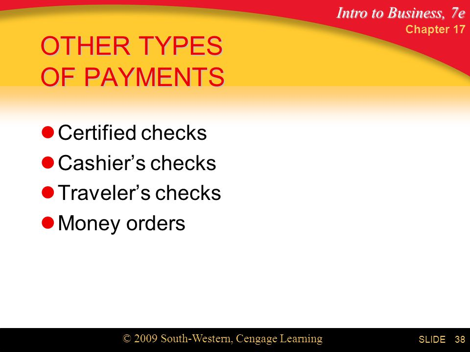 Intro to Business, 7e © 2009 South-Western, Cengage Learning SLIDE Chapter OTHER TYPES OF PAYMENTS Certified checks Cashier's checks Traveler's checks Money orders