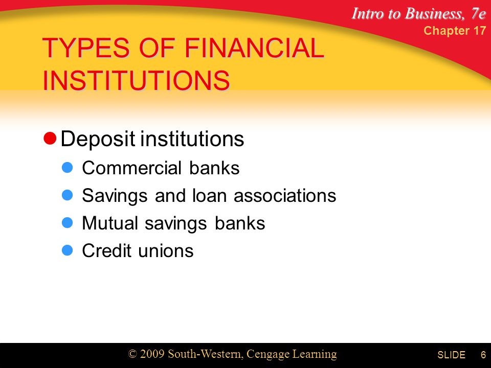 Intro to Business, 7e © 2009 South-Western, Cengage Learning SLIDE Chapter 17 6 TYPES OF FINANCIAL INSTITUTIONS Deposit institutions Commercial banks Savings and loan associations Mutual savings banks Credit unions