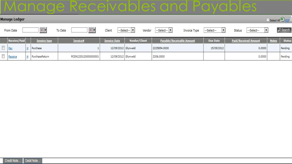 Manage Receivables and Payables