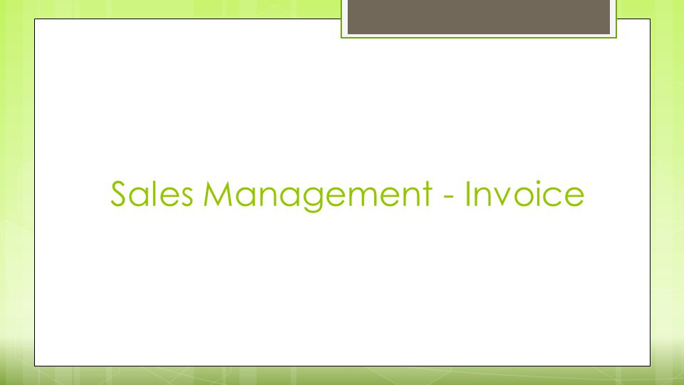 Sales Management - Invoice