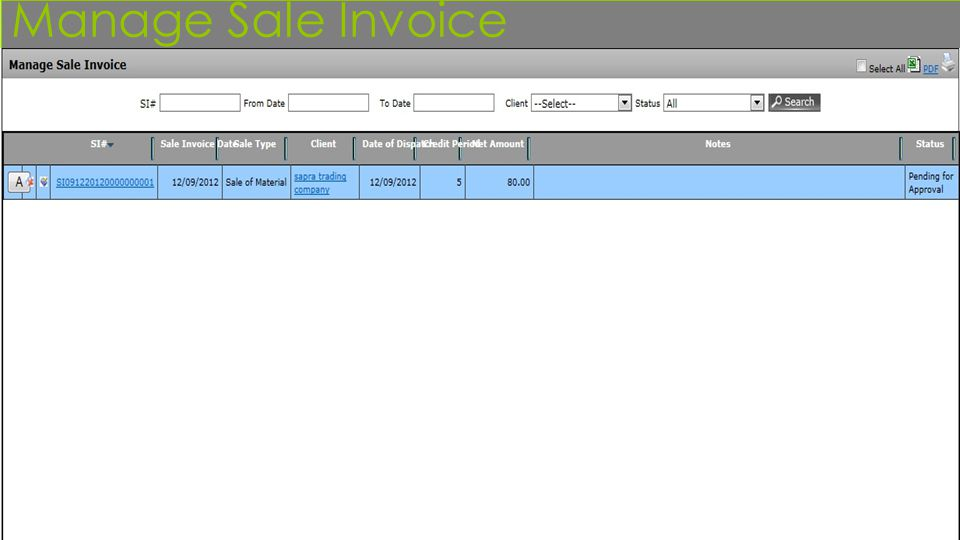 Manage Sale Invoice
