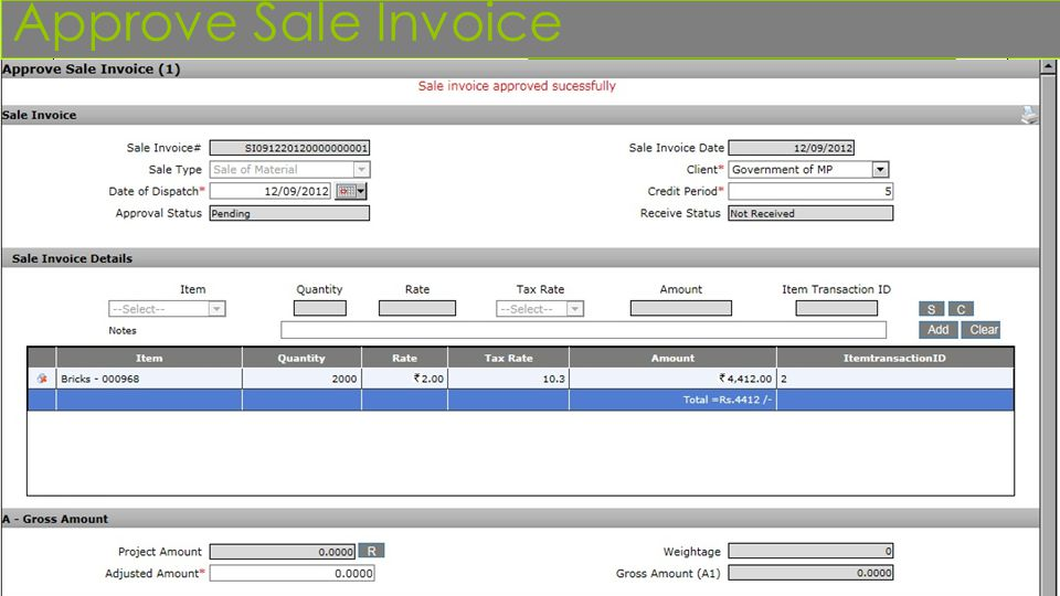 Approve Sale Invoice