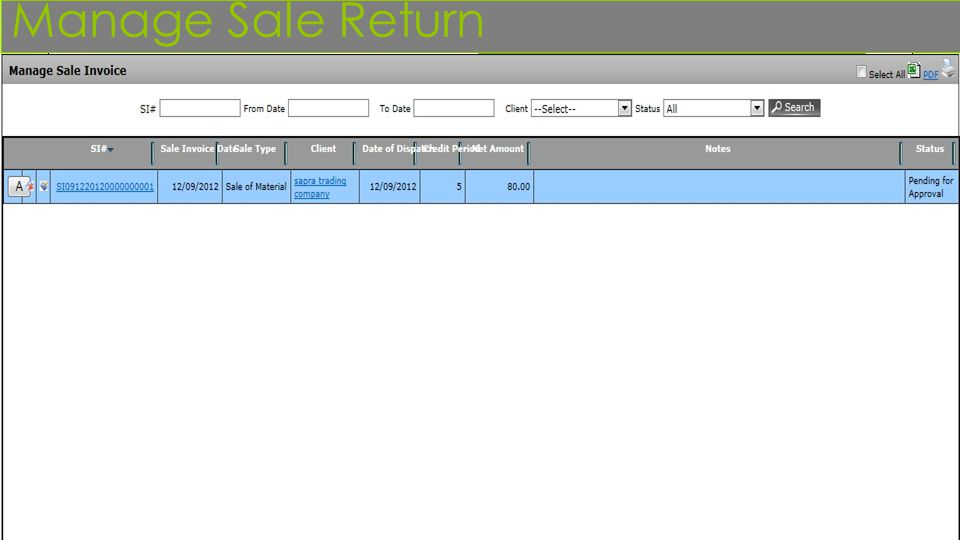 Manage Sale Return