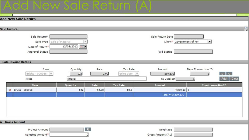 Add New Sale Return (A)