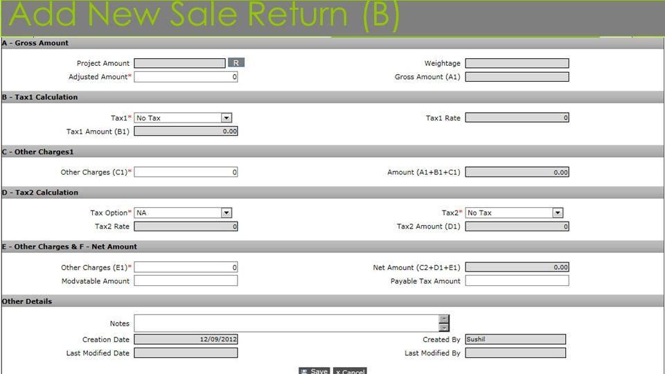Add New Sale Return (B)