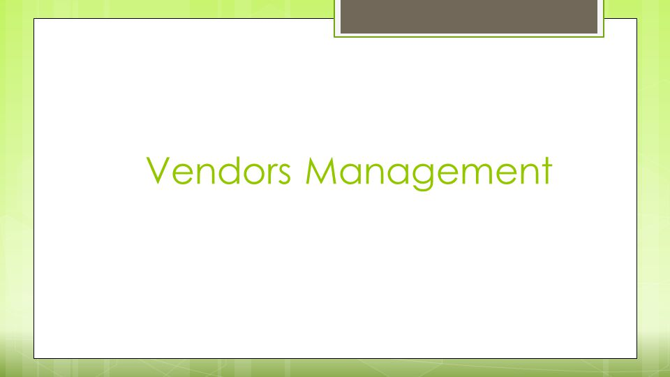 Vendors Management