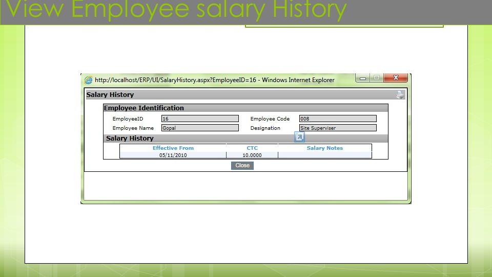 View Employee salary History