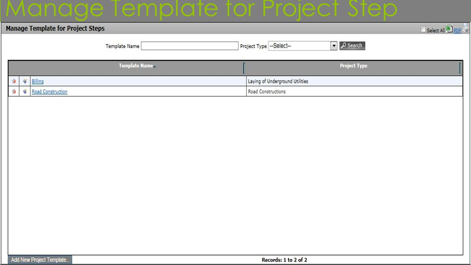 Manage Template for Project Step