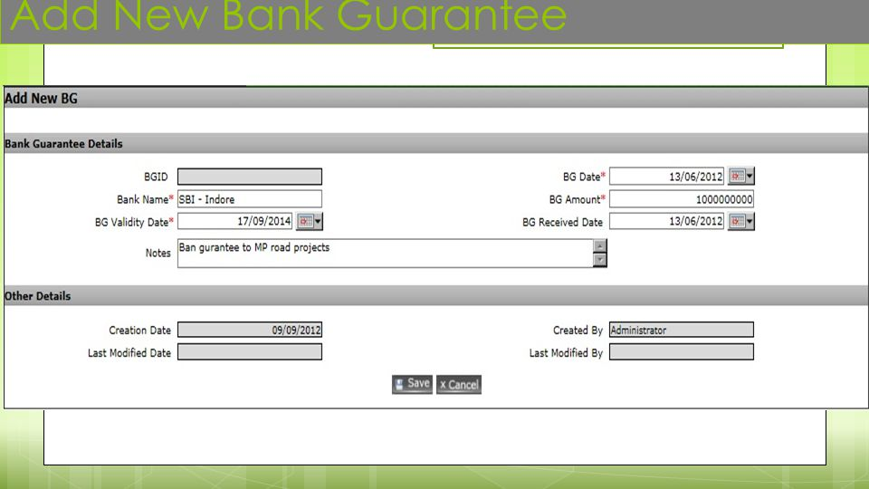 Add New Bank Guarantee