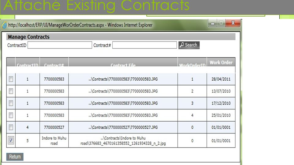 Attaché Existing Contracts