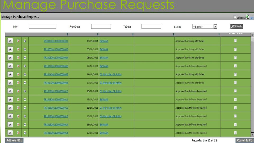 Manage Purchase Requests