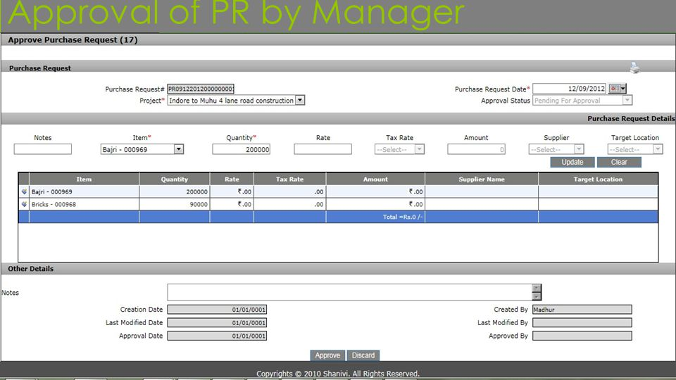 Approval of PR by Manager