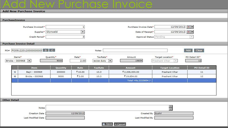 Add New Purchase Invoice