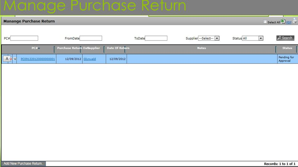 Manage Purchase Return
