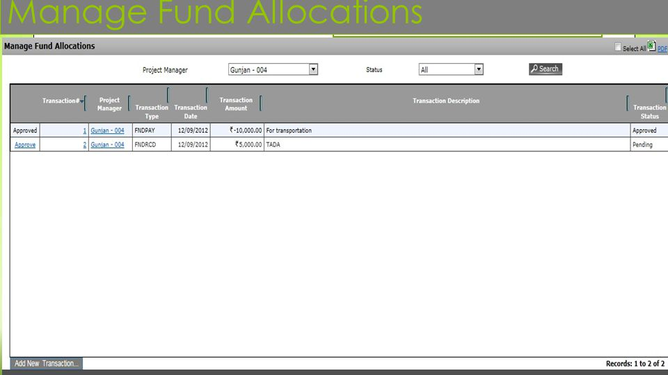 Manage Fund Allocations