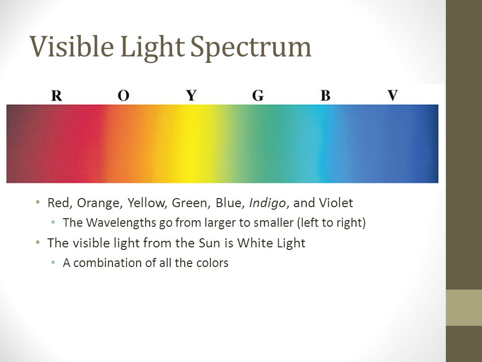 Visible Light Spectrum Red, Orange, Yellow, Green, Blue, Indigo, and Violet The Wavelengths go from larger to smaller (left to right) The visible light from the Sun is White Light A combination of all the colors