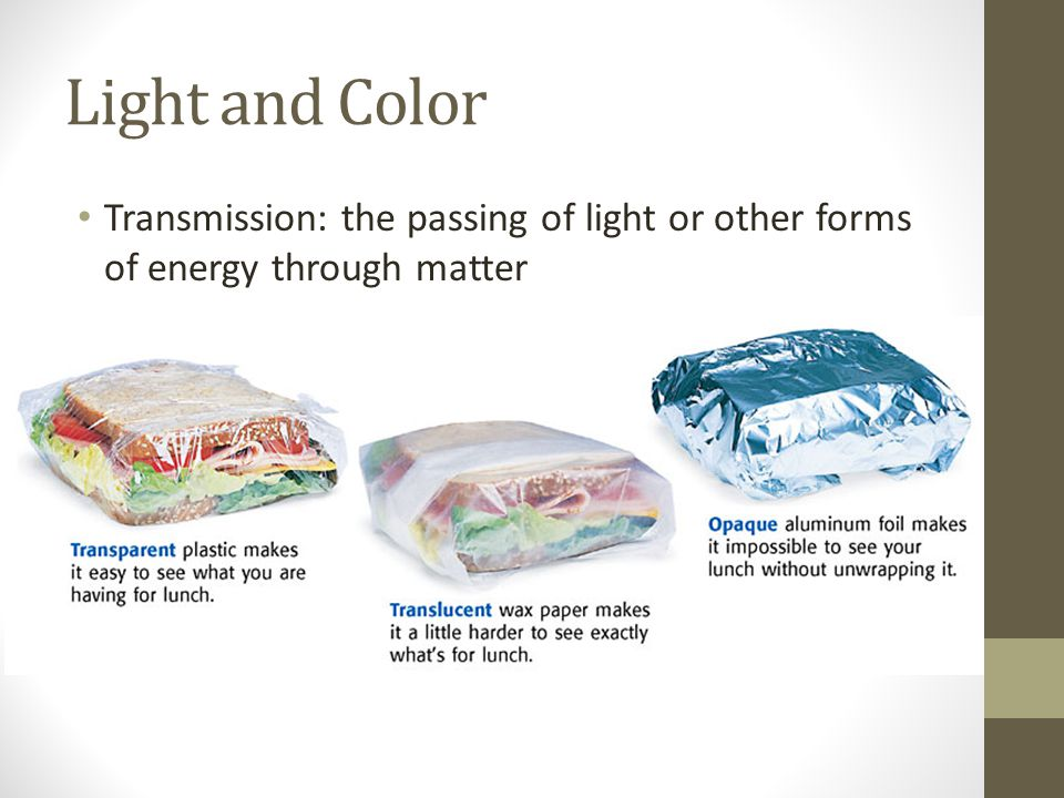 Light and Color Transmission: the passing of light or other forms of energy through matter