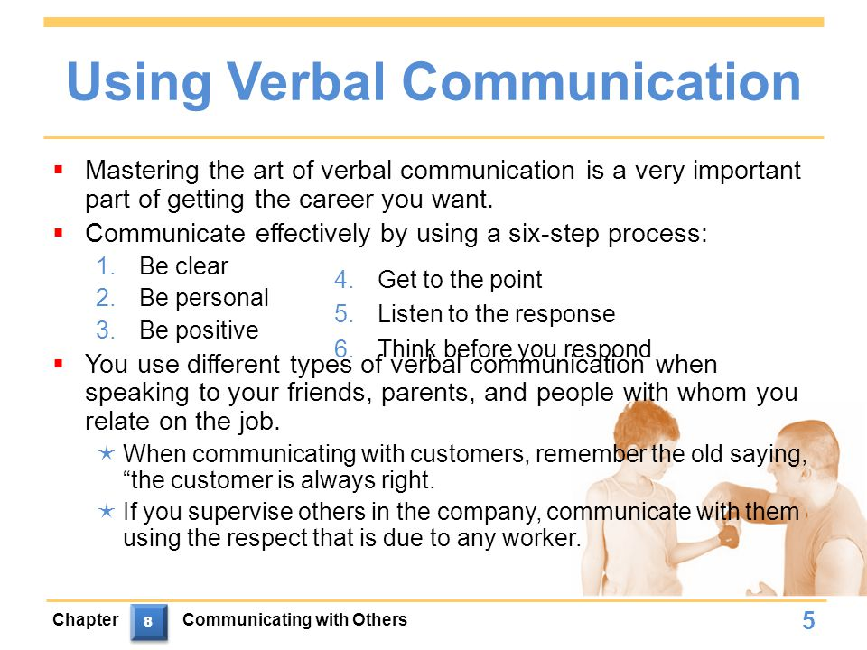 Using Verbal Communication  Mastering the art of verbal communication is a very important part of getting the career you want.