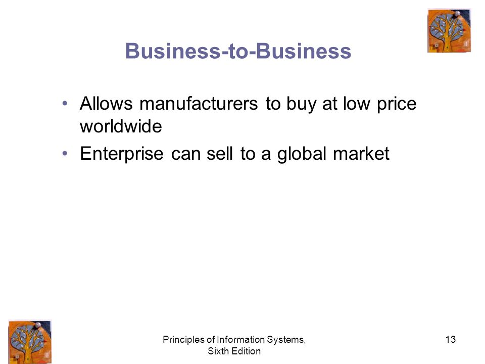 Principles of Information Systems, Sixth Edition 13 Business-to-Business Allows manufacturers to buy at low price worldwide Enterprise can sell to a global market