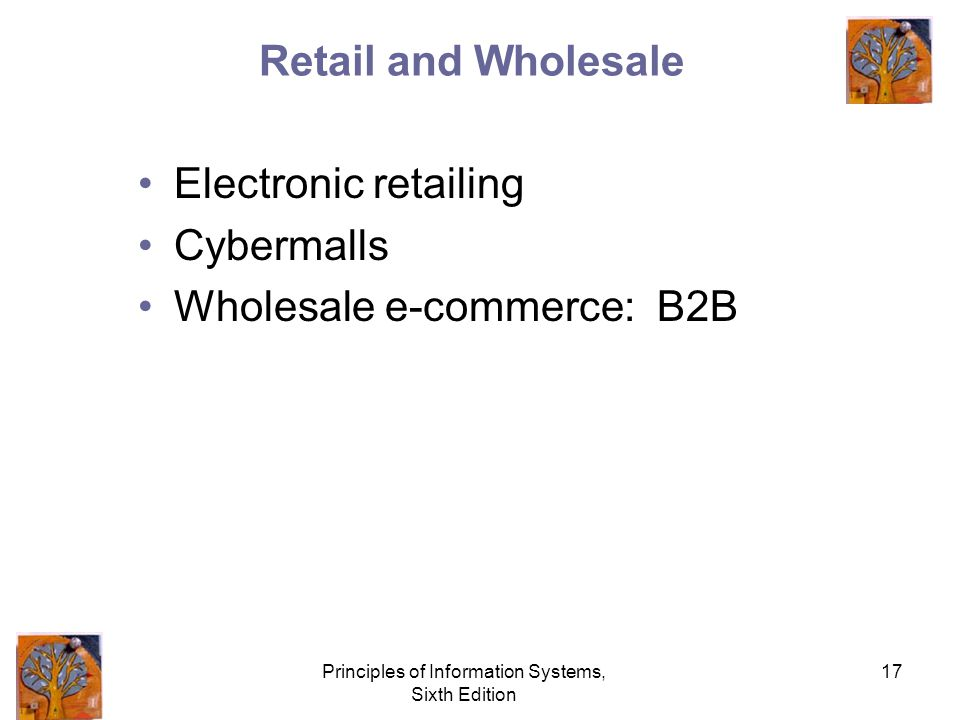 Principles of Information Systems, Sixth Edition 17 Retail and Wholesale Electronic retailing Cybermalls Wholesale e-commerce: B2B