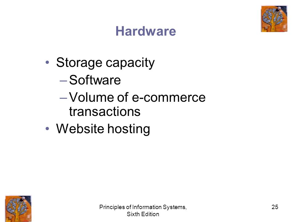 Principles of Information Systems, Sixth Edition 25 Hardware Storage capacity –Software –Volume of e-commerce transactions Website hosting