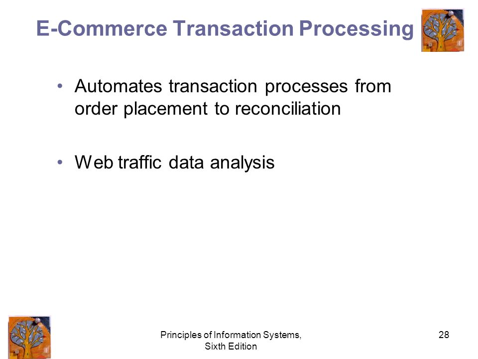 Principles of Information Systems, Sixth Edition 28 E-Commerce Transaction Processing Automates transaction processes from order placement to reconciliation Web traffic data analysis
