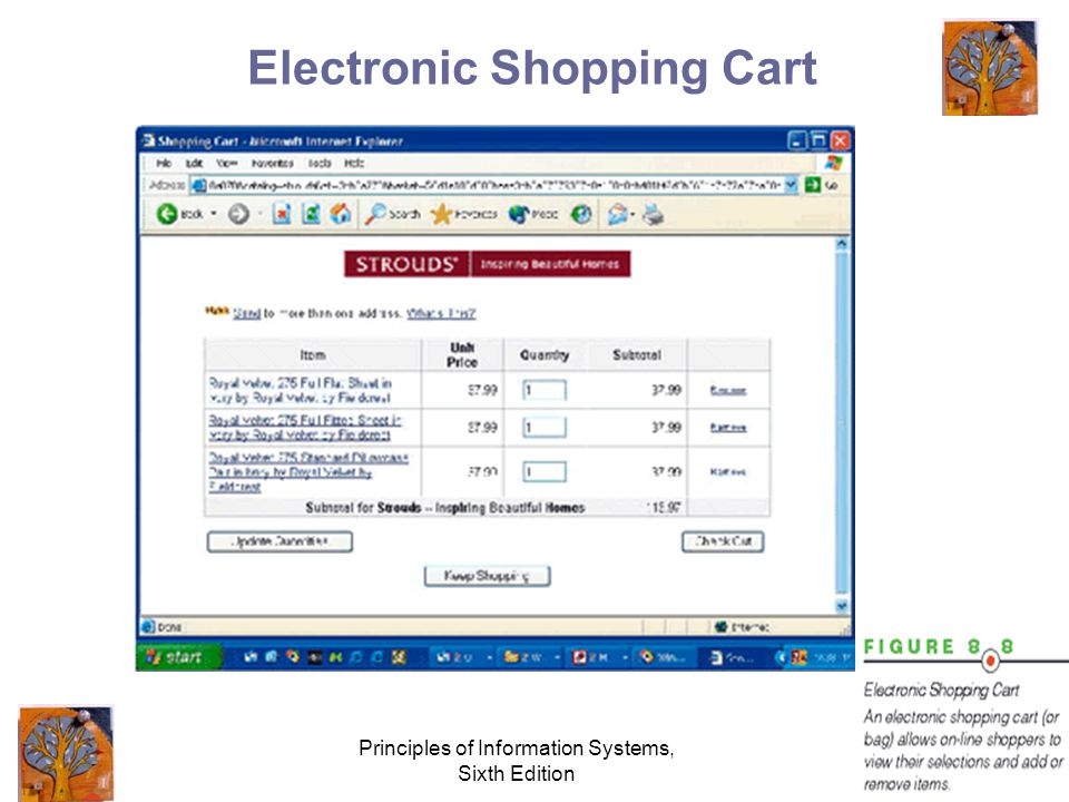 Principles of Information Systems, Sixth Edition 29 Electronic Shopping Cart