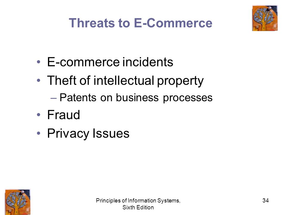 Principles of Information Systems, Sixth Edition 34 Threats to E-Commerce E-commerce incidents Theft of intellectual property –Patents on business processes Fraud Privacy Issues