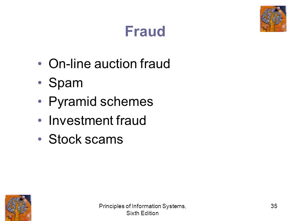Principles of Information Systems, Sixth Edition 35 Fraud On-line auction fraud Spam Pyramid schemes Investment fraud Stock scams