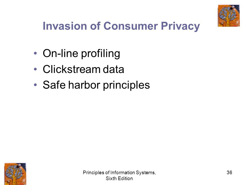 Principles of Information Systems, Sixth Edition 36 Invasion of Consumer Privacy On-line profiling Clickstream data Safe harbor principles