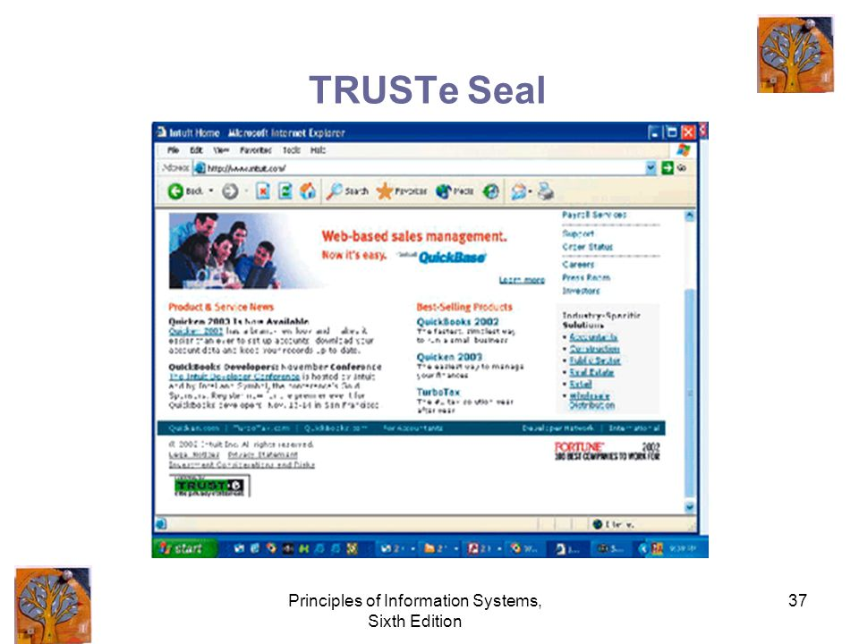 Principles of Information Systems, Sixth Edition 37 TRUSTe Seal