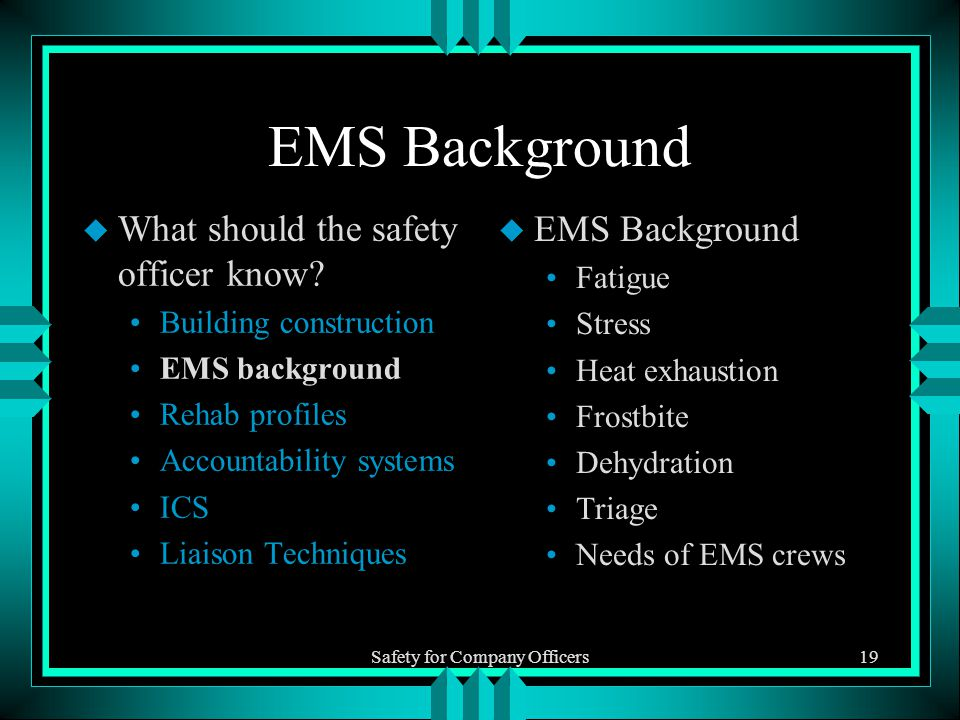 Safety for Company Officers19 EMS Background u What should the safety officer know.