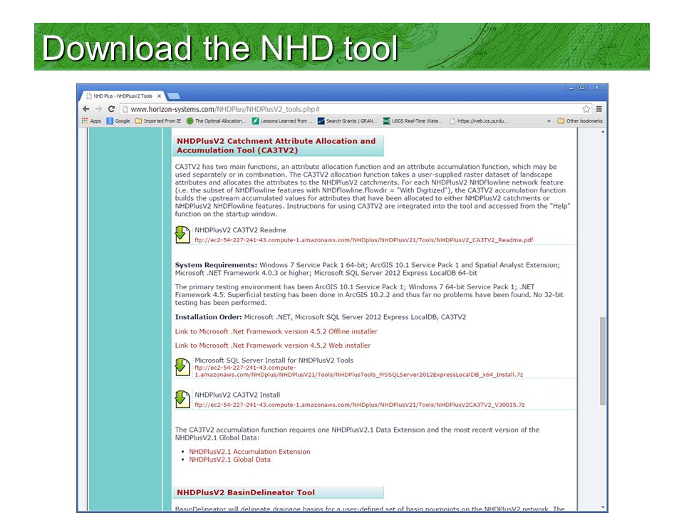 Download the NHD tool