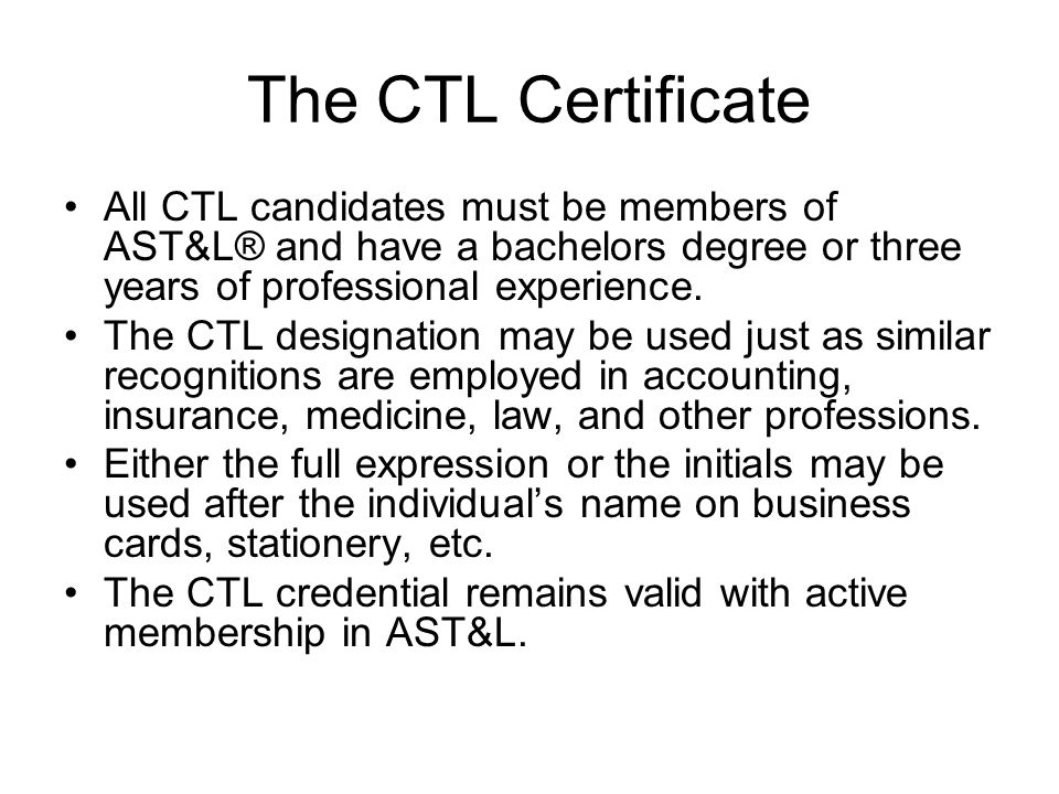 Ctl Certificate Program Spring The Ctl Certificate All Ctl