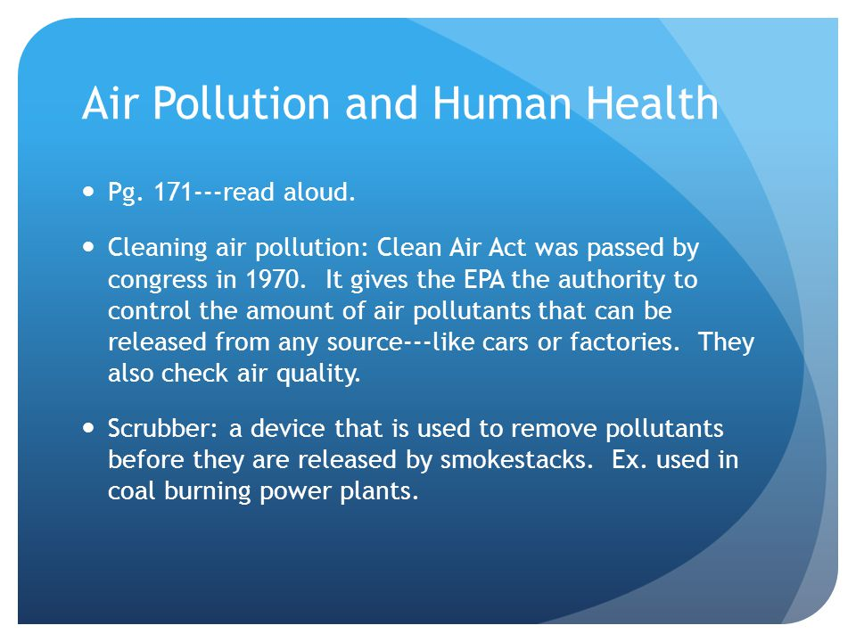 Air Pollution and Human Health Pg read aloud.
