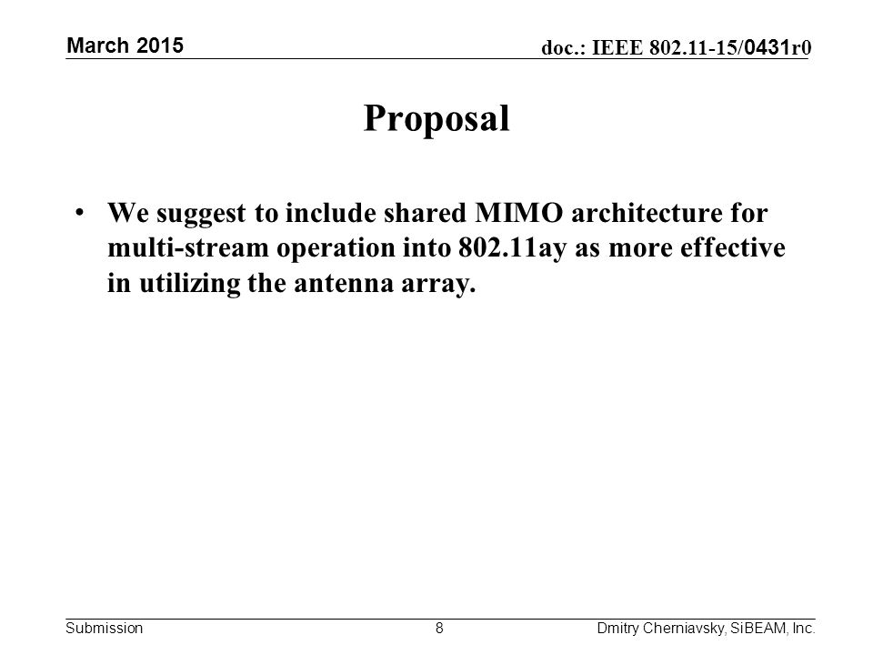 Submission doc.: IEEE / 0431 r0 Proposal We suggest to include shared MIMO architecture for multi-stream operation into ay as more effective in utilizing the antenna array.
