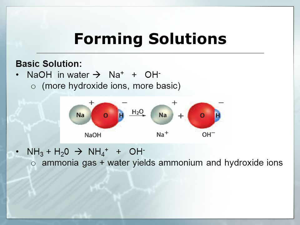 Basic Solution: NaOH in water  Na + + OH - o (more hydroxide ions, more basic) NH 3 + H 2 0  NH OH - o ammonia gas + water yields ammonium and hydroxide ions Forming Solutions