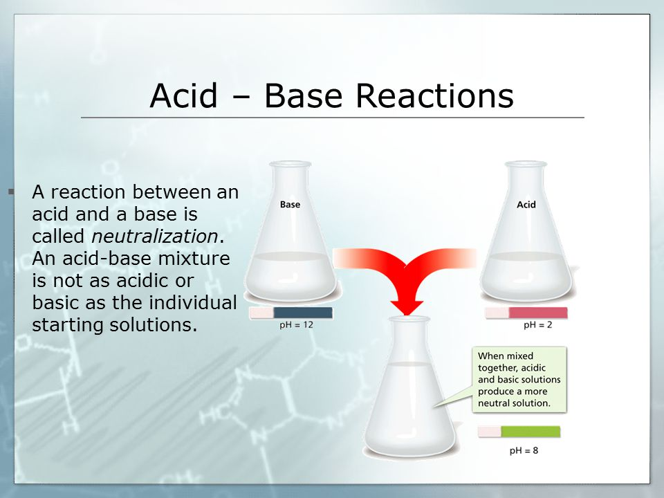 Acid – Base Reactions  A reaction between an acid and a base is called neutralization.