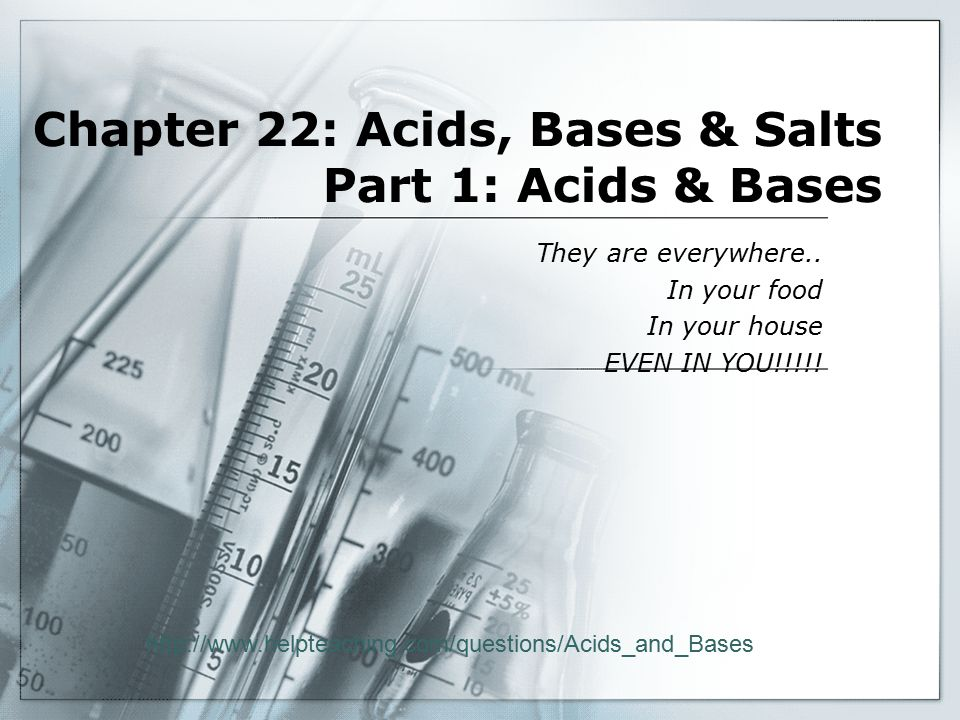 Chapter 22: Acids, Bases & Salts Part 1: Acids & Bases They are everywhere..